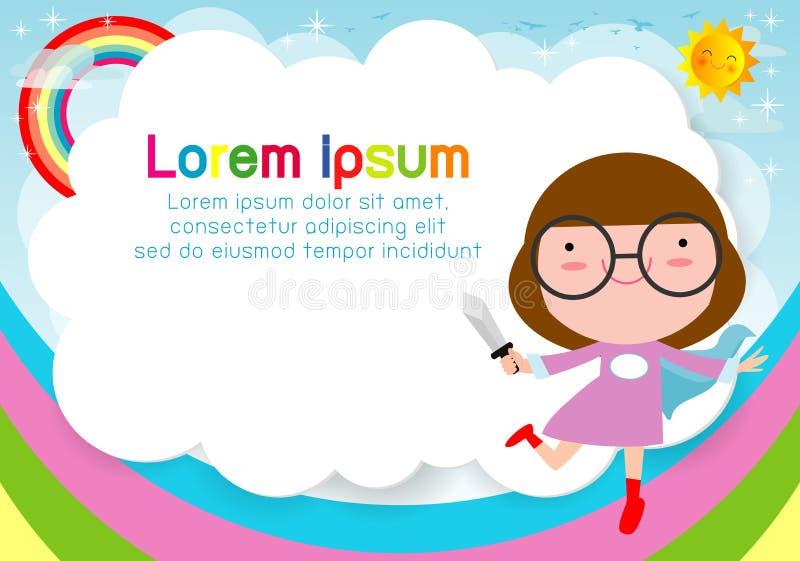 Superherounge på bakgrund Mall för annonsering av broschyren, din text Gulliga små Superherobarn Ungar och ram royaltyfri illustrationer