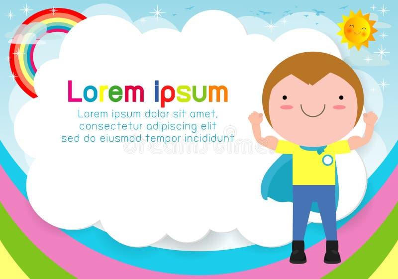 Superherounge på bakgrund Mall för annonsering av broschyren, din text Gulliga små Superherobarn Ungar och ram vektor illustrationer