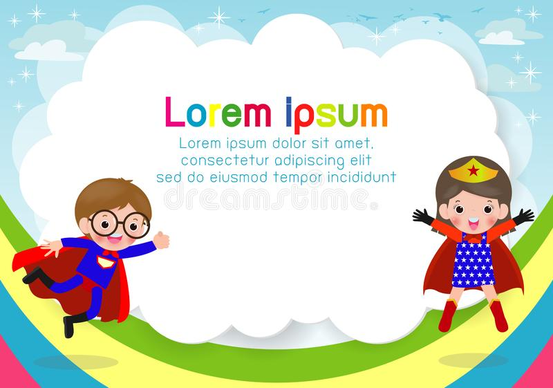 Superherounge p? bakgrund, mall f?r annonsering av broschyren, din text, gulliga sm? Superherobarn, ungar och ram royaltyfri illustrationer