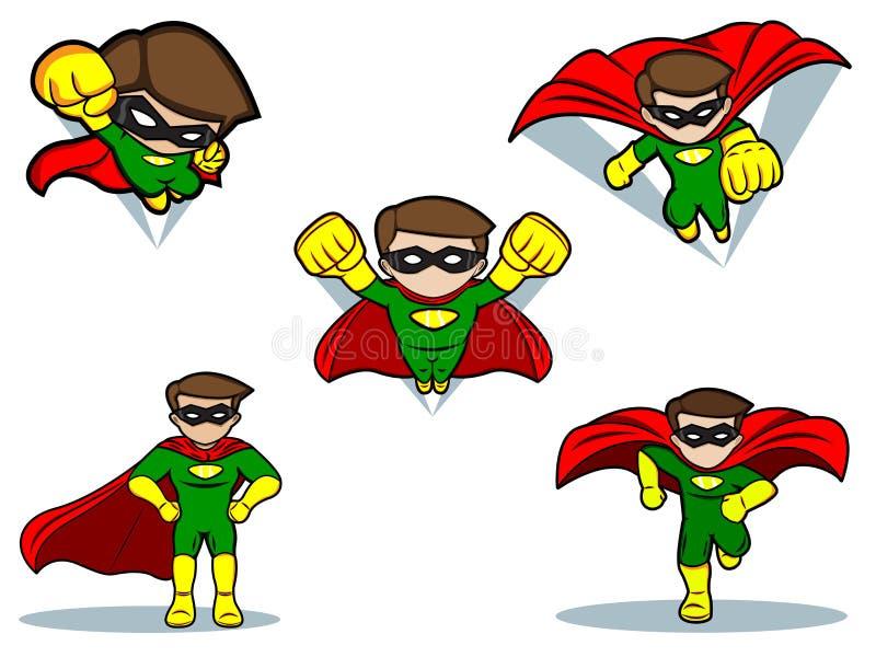 Superherouppsättning royaltyfri illustrationer