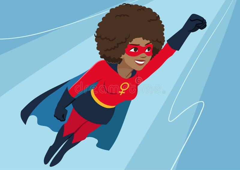 Superherovrouw tijdens de vlucht Aantrekkelijke jonge Afrikaanse Amerikaanse wom royalty-vrije illustratie