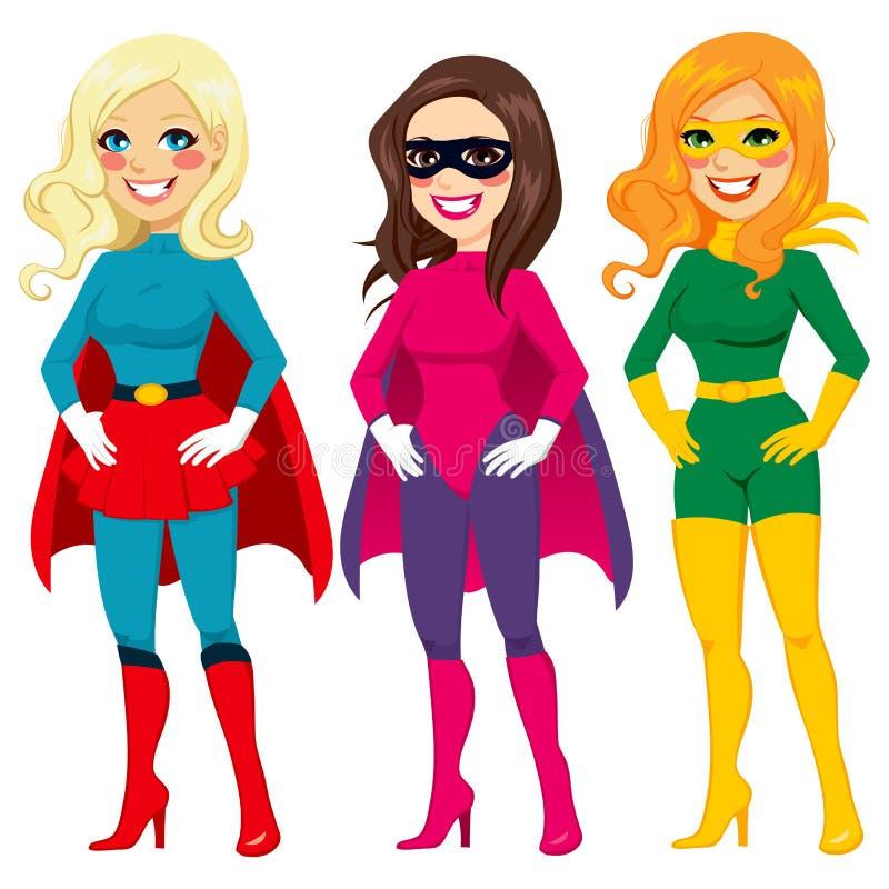 Superherovrouwen het Stellen vector illustratie