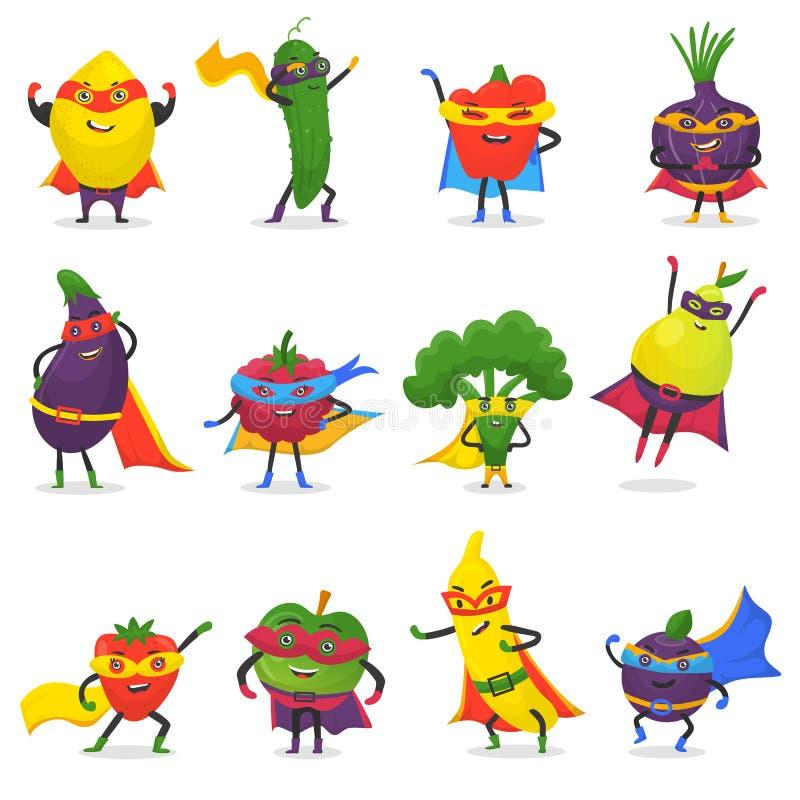 Superherovruchten vector fruitig beeldverhaalkarakter van de super groenten van de heldenuitdrukking met grappige appelbanaan of  stock illustratie
