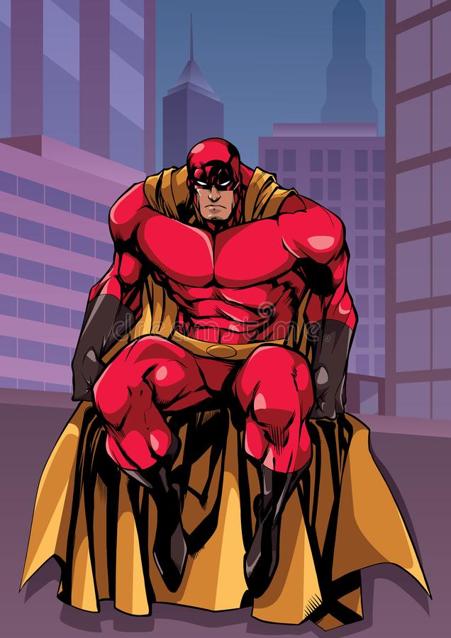 Superherozitting in Stad stock illustratie