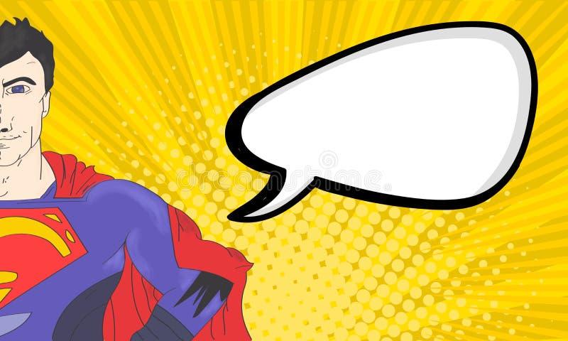 Superhombre cómico con la burbuja del discurso stock de ilustración