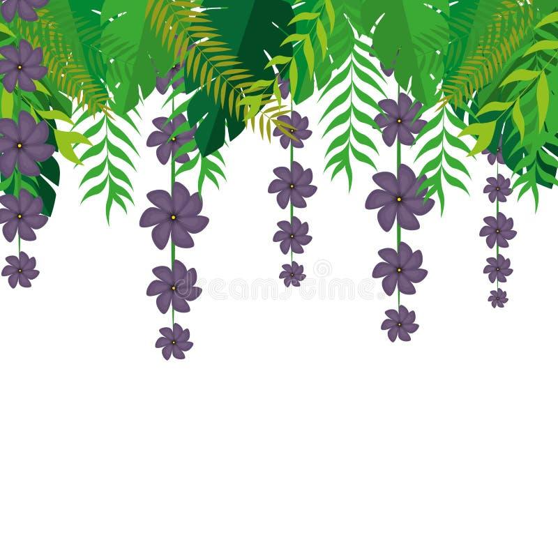 Superieur kader met holdings violette bloemen en het groene ontwerp van de bladerenaard royalty-vrije illustratie
