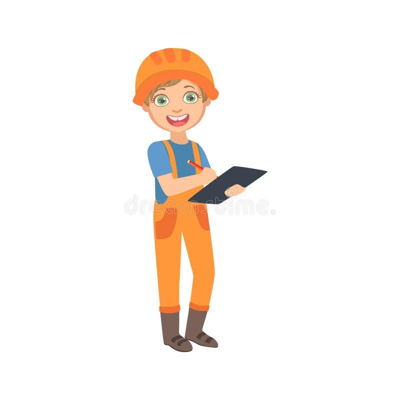 Superintendente With The Checklist do trabalho do menino, criança vestida como o grupo ideal futuro da profissão do local de On T ilustração do vetor
