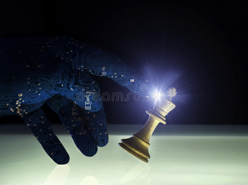 Superior Artificial Intelligence Wining Chess Concept stock photo
