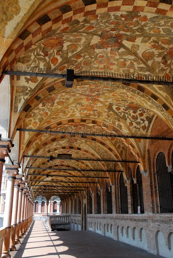 Superior porch of the elegant and historical building of Reason in Padua in the Veneto (Italy) royalty free stock photography
