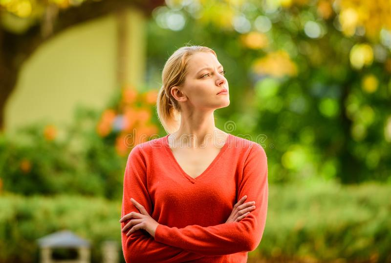 Superior and self confident. Stylish and confident. Confident woman. Sensual blonde girl outdoors sunny day nature royalty free stock images