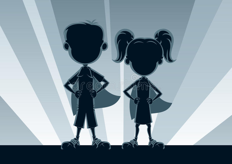 Superkids Silhouettes. Boy and girl superheroes, posing in front of light. No transparency used. Basic (linear) gradients used for the background. A4 proportions