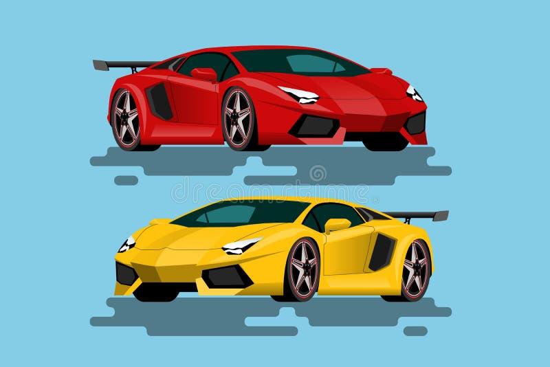 Superluxusauto für Leute, die hohe Geschwindigkeit lieben Neu-formulierte Fahrzeuge im Konzept von Beweglichkeit lizenzfreie abbildung