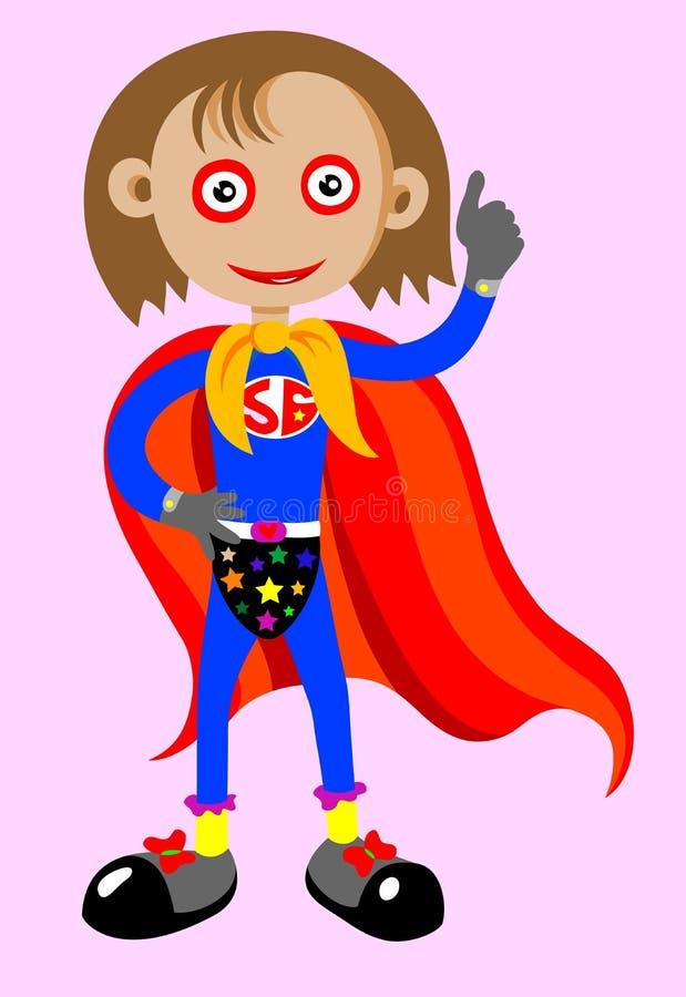 Supermädchen mit den Daumen oben stock abbildung