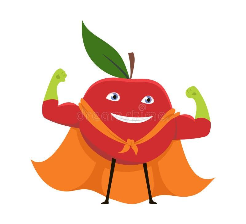 Supermacht-Konzept-Element-flache Design-Art Karikatur-Superheld-Charakter-rotes Apples vegetarisches Vektorabbildung von vektor abbildung