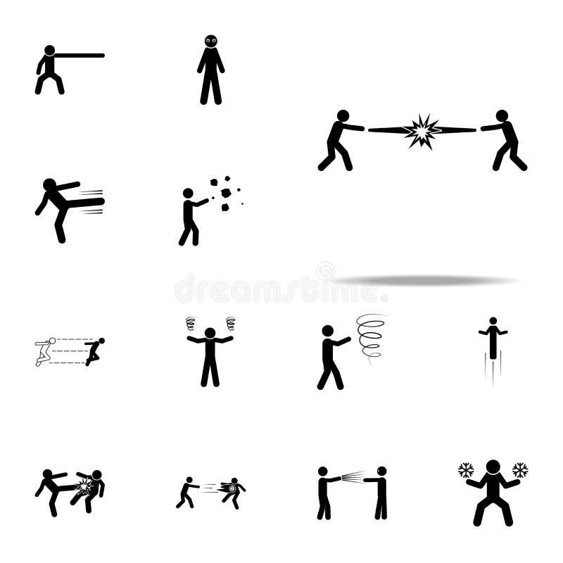 Supermacht, Kraft, Kampfikone Universalsatz der speziellen menschlichen starken Ikonen für Netz und Mobile stock abbildung