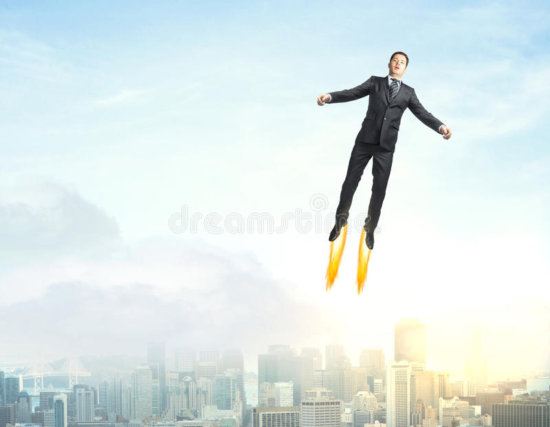 Superman in cielo fotografie stock