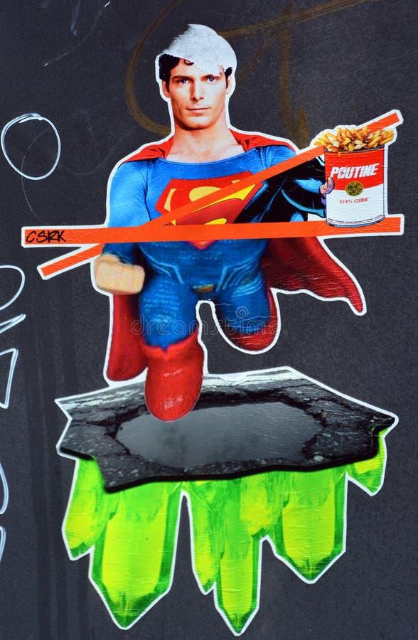 Superman di arte della via del fumetto fotografia stock