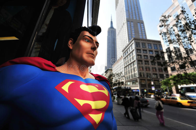 Superman em Manhattan New York fotografia de stock
