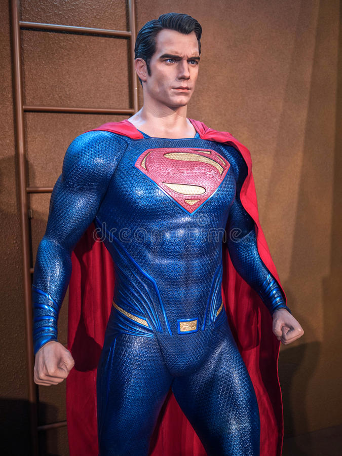 Superman. Figure on display as a promotion for the movie Batman v : Dawn of Justice in Hong Kong stock photo