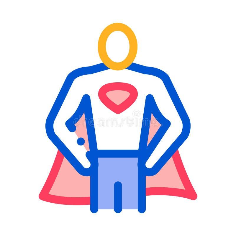 Superman Full Growth Icon Vector Outline Illustratie vector illustratie