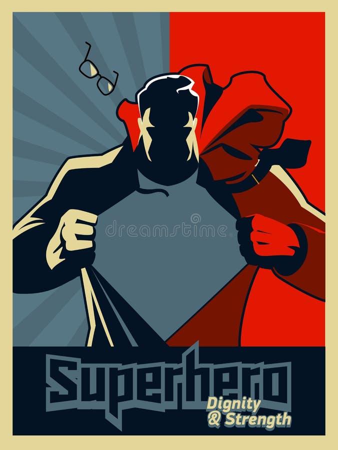 Superman que rasga sua camisa Gráfico azul e vermelho Ilustração Ilustração do vetor Silhueta ilustração royalty free