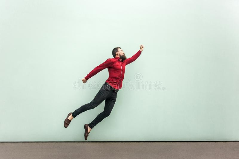 Superman style. Enthusiasm concept stock images