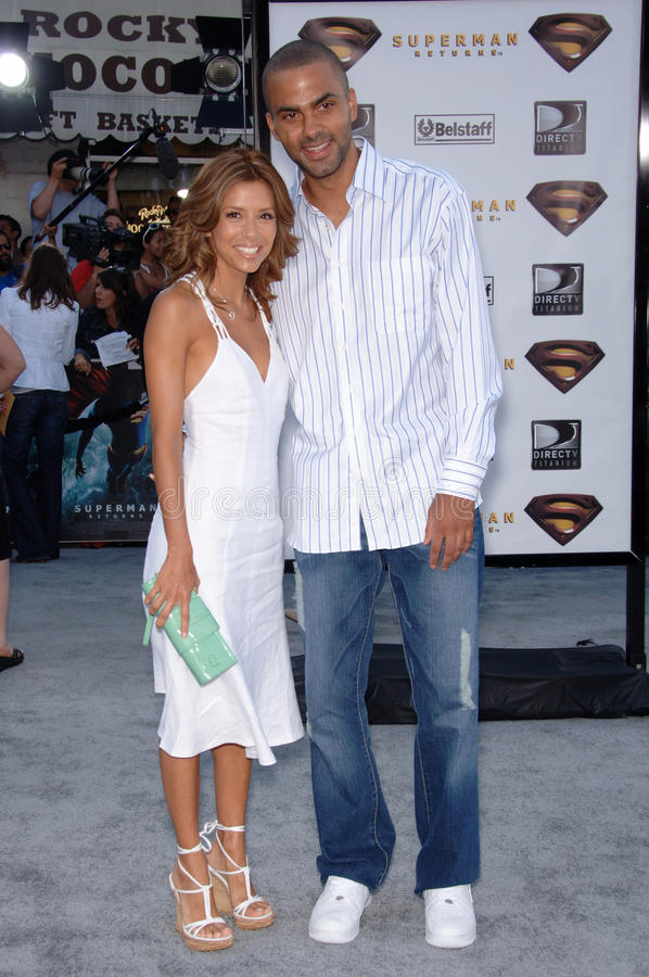 Superman, Tony Parker, Eva Longoria stock foto's