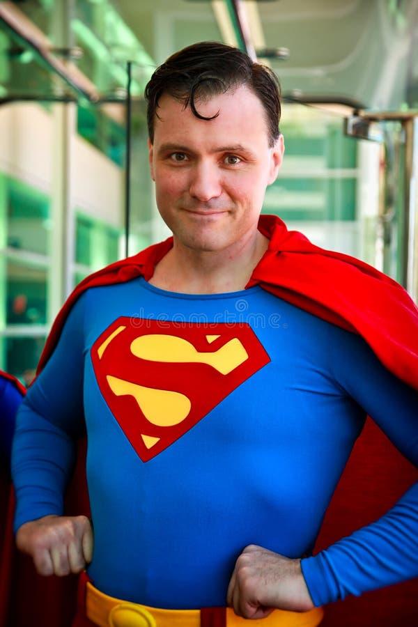 Supermann Cosplay, Männerbildnis, San Diego Comic Con 2014 stockfotos