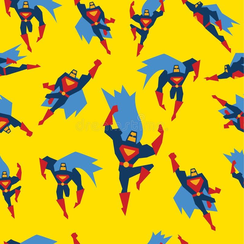 Supermann-nahtlose Muster-Vektor-Illustration stock abbildung