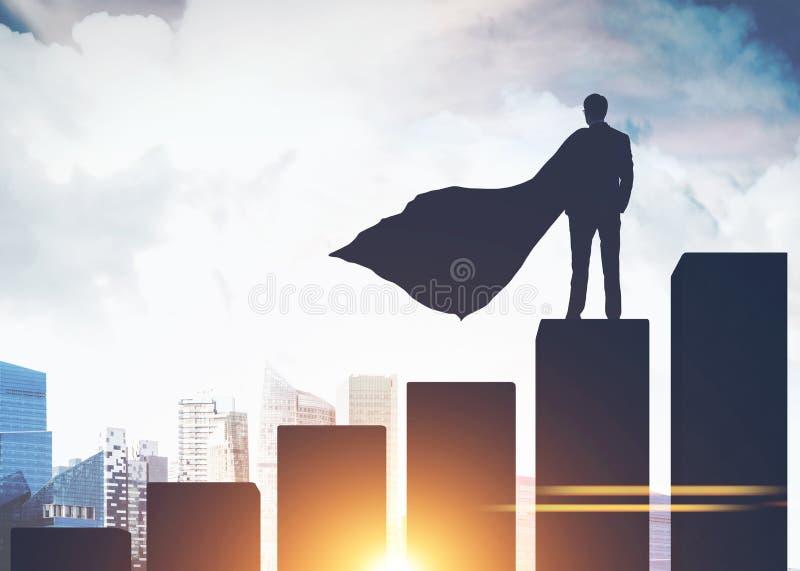 Supermanngeschäftsmannschattenbild auf Balkendiagramm, Stadt lizenzfreie abbildung
