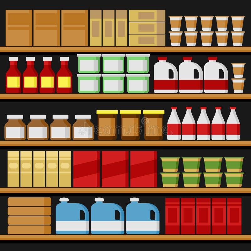 supermarché Étagères de Shelfs avec des produits Vecteur illustration libre de droits