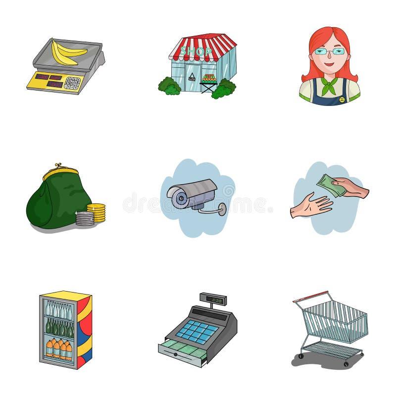 Supermarché, faisant des emplettes dans le magasin Une sélection des photos sur le sujet des achats Icône de supermarché dans la  illustration libre de droits