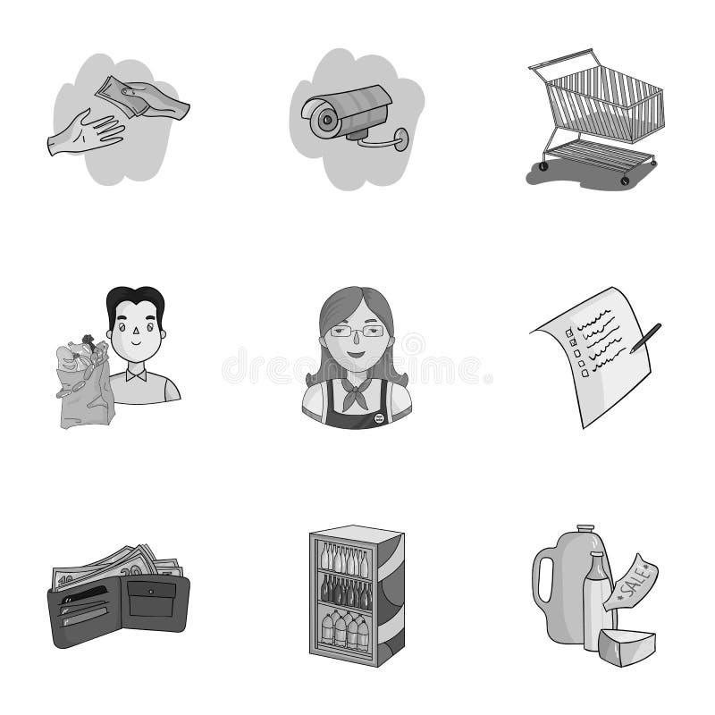 Supermarché, faisant des emplettes dans le magasin Une sélection des photos sur le sujet des achats Icône de supermarché dans la  illustration de vecteur