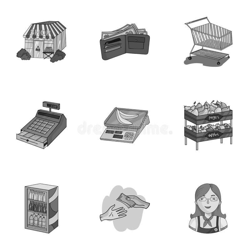 Supermarché, faisant des emplettes dans le magasin Une sélection des photos sur le sujet des achats Icône de supermarché dans la  illustration stock
