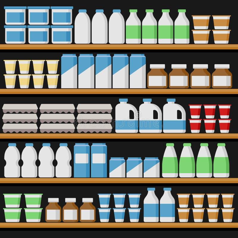 supermarché Shelfs avec les produits laitiers Vecteur illustration de vecteur