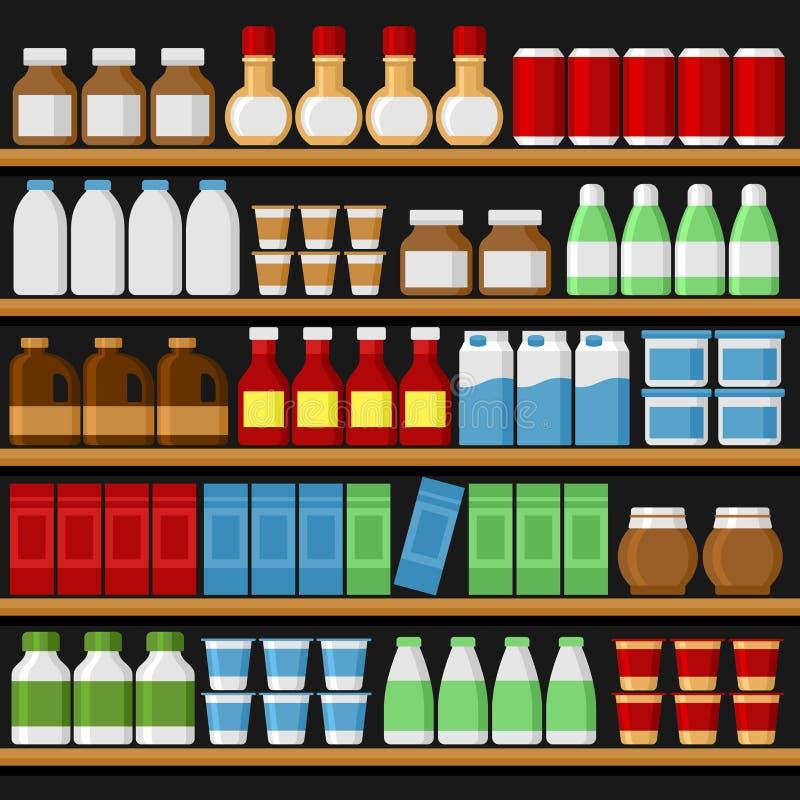 supermarché Shelfs rayonne avec des produits et des boissons Vecteur illustration stock