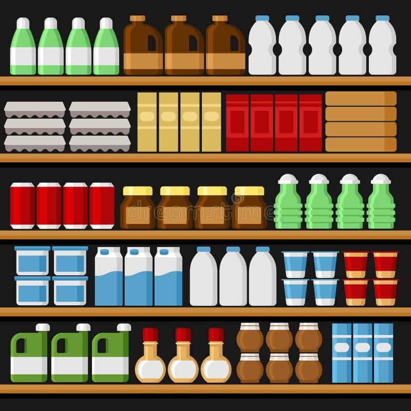 supermarché Shelfs rayonne avec des produits et des boissons Vecteur illustration libre de droits