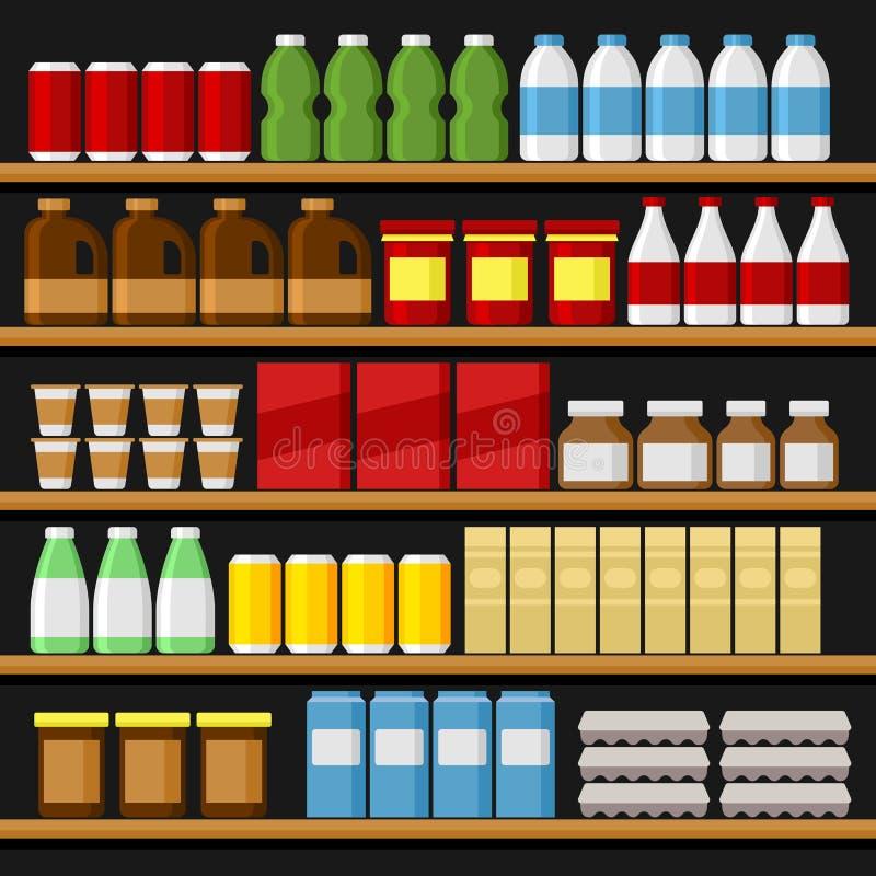 supermarché Shelfs rayonne avec des produits et des boissons Vecteur illustration de vecteur