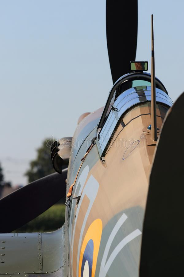 Second world war II spitfire from behind stock photos