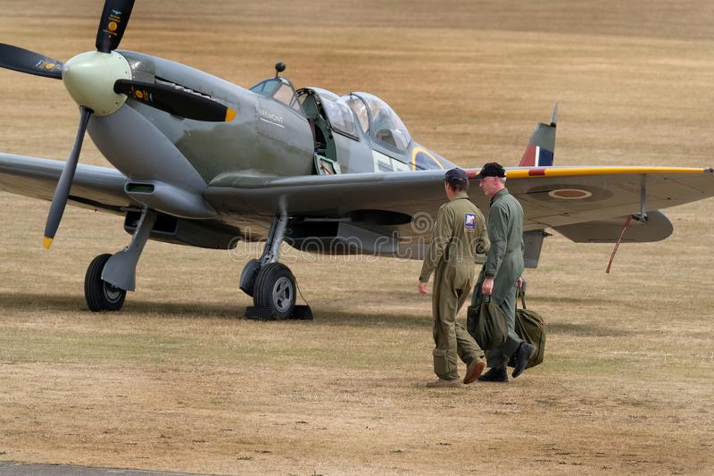 The Supermarine Spitfire is a British single-seat fighter aircraft used by the Royal Air Force and other Allied countries. Flying Legends air show, Imperial War stock images