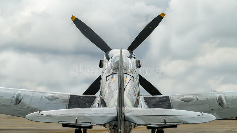 Supermarine Spitfire Mk. XVI. Seen directly from behind royalty free stock image