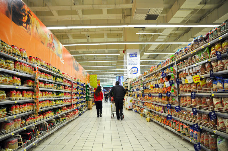 Supermarket. Istanbul Maltepe Carrefour has opened a new branch royalty free stock photos