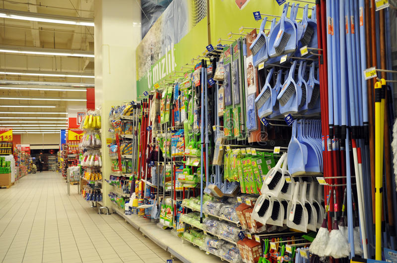 Supermarket. Istanbul Maltepe Carrefour has opened a new branch. Cleaning materials section royalty free stock photo