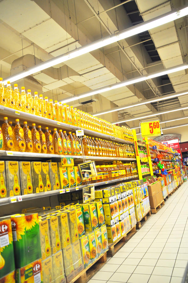 Supermarket. Istanbul Maltepe Carrefour has opened a new branch. Edible oil section royalty free stock image
