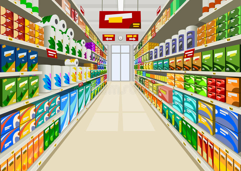 Supermarket. Products in a supermarket, illustration
