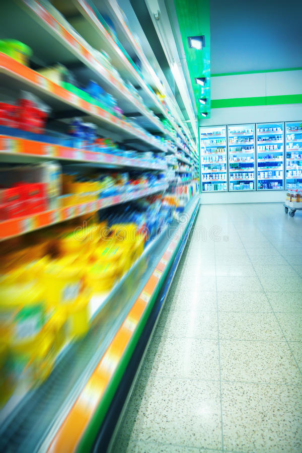 Supermarket. Various products in a supermarket royalty free stock photography