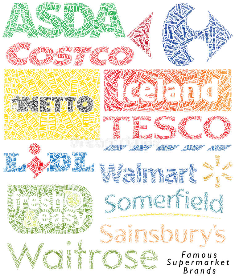 Supermarket brand. A set of famous supermarket brands in typographic design. Useful to illustrate publications and articles relating to retail and commercial