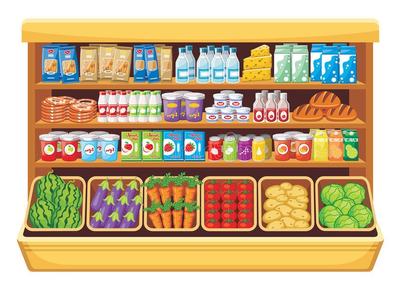 Supermarket. stock illustrationer