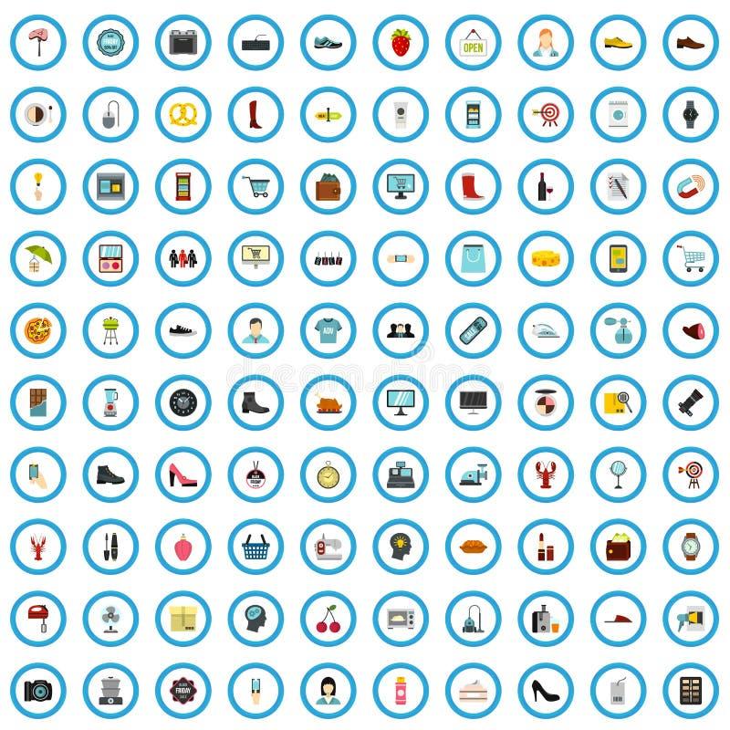 100 supermarket agency icons set, flat style. 100 supermarket agency icons set in flat style for any design vector illustration vector illustration