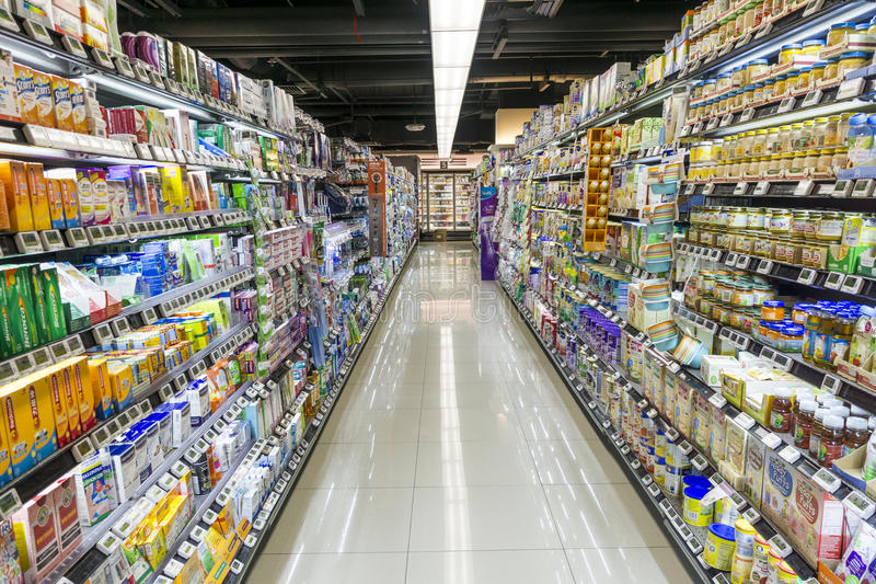 Supermarket aisle. In supplement department stock image